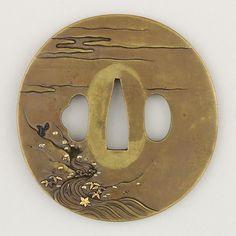 Sword Guard (Tsuba)  Date:early 19th century Culture:Japanese Medium:Copper alloy (sentoku), copper-gold alloy (shakudō), gold, silver, copper Dimensions:H. 3 1/8 in. (7.9 cm); W. 3 1/16 in. (7.8 cm); thickness 1/4 in. (0.6 cm); Wt. 6.2 oz. (175.7 g)