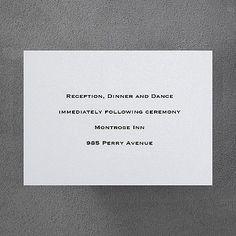 White Shimmer Reception Card weddingneeds.carlsoncraft.com