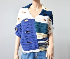 Boho Wool HandKnit  Poncho. Cream, White, Blue.  You can wear it as a coat. Over your coat or under your coat. This is a perfect accessory to add to your wardrobe.   Size: Medium -...