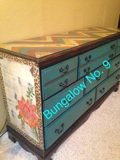Custom painted furniture; leopard; floral