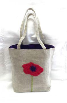 アネモネ刺繍のバッグ - kawazoe miho