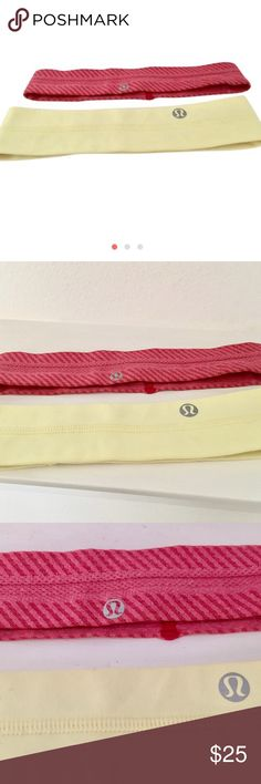 LULULEMON 🍋 BUNDLED HEADBANDS (2) PINK & YELLOW 2 headbands - one with no slip on the inside . 1 is pink the other is a pale yellow lululemon athletica Accessories Hair Accessories
