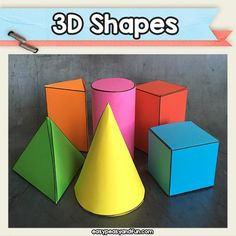 Printable Shapes Templates – Easy Peasy and Fun Membership 3d Shapes Activities, Craft Activities For Kids, Crafts For Kids, 3d Shapes Kindergarten, Teaching Shapes, Teaching Geometry, 2d And 3d Shapes, Geometric Shapes, 3d Shapes For Kids