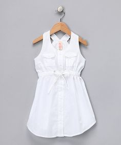 Take a look at this White Button-Up Racerback Dress - Toddler & Girls by Chillipop on #zulily today!