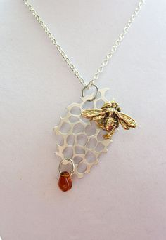 Honeycomb Bee Silver and Gold Necklace