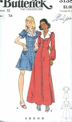 1970's Butterick 3138 Sewing Pattern Misses Retro Maxi Dress Bust 34