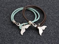 Whale Tail Bracelet Leather Nautical Beach Jewelry