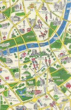 London Map Fabric Moda Fabrics Passport London by TheFabricHive