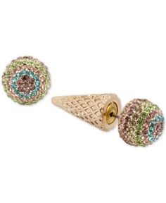 Betsey Johnson Gold-Tone Pave Ice Cream Cone Earring Jackets - Multi