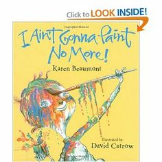 Art activities for I Ain't Gonna Paint No More! and Jeremy Draws a Monster by Joanna from We Heart Art at PreK + K Sharing