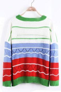 Blue Contrast Red Striped Eyelet Knit Drop Shoulder Sweater - Sheinside.com