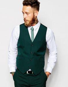 ASOS Slim Fit Suit In Dark Green Pindot