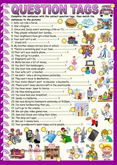 here is a worksheet to pracise buildig tag question making wih all sorts of tenses ans auxiliaries, then they match the sentences to the pictures, KEY is included on the second page - ESL worksheets Grammar Practice, Grammar And Vocabulary, Grammar Lessons, English Vocabulary, Basic Grammar, English Teaching Materials, Teaching English Grammar, English Grammar Worksheets, Kids English