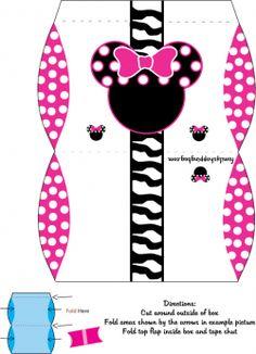 minnie mouse free printables  | Minnie Favor Box, Mickey Mouse, Favor Box - Free Printable Ideas from ...