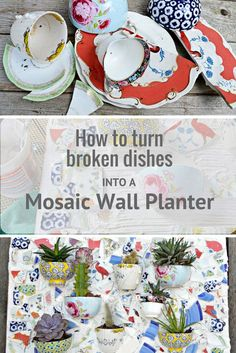 Upcycle your broken plates and bowls into a unique gorgeous mosaic wall planter for your garden. Full step by step tutorial.