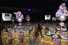 table scapes in purple and gold | The royal-themed ball employed a purple and gold color scheme ...