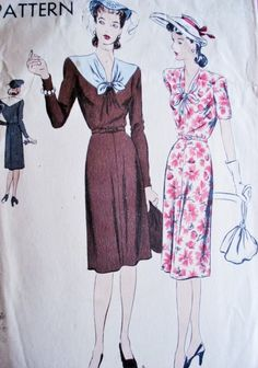 c6f5fdf581b 1940s Lovely Dress Pattern VOGUE 9783 Day or after 5 Dress V Neckline  Draped Bodice Bust 32 Vintage Sewing Pattern