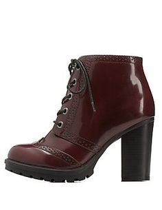 Bamboo Wingtip Lace-Up Chunky Heel Booties: Charlotte Russe