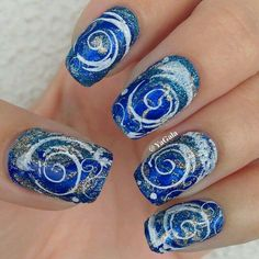 Blue silver and white swirl winter glitter nailart #nailart #nails #white #blue #winter #silver #swirl #glitter
