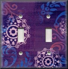 purple switchplates   Light Switch Plate Cover - Boho Gypsy Home Decor - Purple Floral