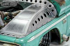 """Tiffany"" 1966 Chevrolet twin turbo parts hauler by Classic Car Studio Built 346 LS. Mini Trucks, Cool Trucks, Cool Cars, Sheet Metal Fabrication, Welding And Fabrication, Sheet Metal Work, Metal Shaping, Hot Rods, Shop Truck"