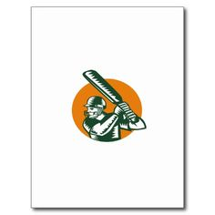 Cricket Player Batsman Batting Circle Woodcut Postcard. Illustration of a cricket player batsman with bat batting viewed from the side set inside circle done in retro woodcut style on isolated background. #olympics #sports #summergames #rio2016