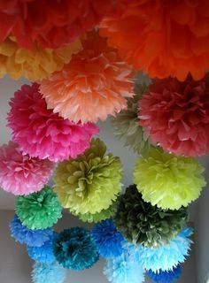 15 Tissue Paper Pom Poms .. Weddings / Bridal Shower by PartyPoms