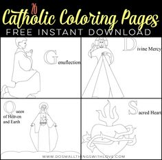 I am so excited to share these 26 FREE Catholic Coloring Pages with you today! There is a different coloring sheet for each letter of the alphabet. Get them all for free HERE! Coloring is a… Catholic Crafts, Catholic Kids, Catholic School, Religion Activities, Catholic Religion, Catholic Saints, Alphabet Coloring Pages, Religious Education, Coloring For Kids