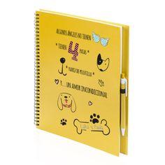 Libreta personalizada de cartón reciclado con anillas. Plantilla de libreta perro amor incondicional. Utiliza nuestro personalizador online para poner las fotografías, dibujos y/o textos que quieras. Resultados con calidad fotográfica. Bolígrafo de cartón reciclado incluido.