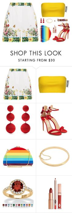 """Sin título #5103"" by mdmsb on Polyvore featuring moda, Dolce&Gabbana, Moschino, Rebecca de Ravenel, Salvatore Ferragamo, Milly, Sterling Essentials y Palm Beach Jewelry"