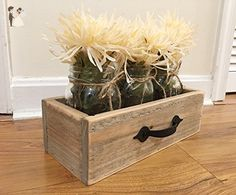 Rustic Reclaimed Wooden Drawer With Mason Jars, Reclaimed Box, Rustic Jar Centerpiece, Rustic Crate - Venue and reception decor (*Amazon Partner-Link)