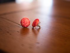 Floral pink vintage style button earrings