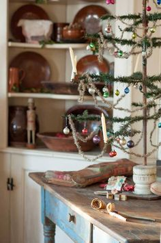 Vintage Christmas table top tree with candles