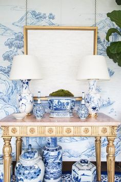 Love this vignette as seen on Domaine Home // Blue and White Porcelain. #blueandwhite