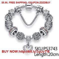 Fashion Silver Heart Charms Bracelet Bangle for Women DIY 925 Crystal Beads Fit Original Bracelets