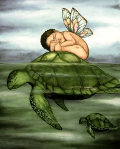 Baby and turtle art print by Claudia Tremblay