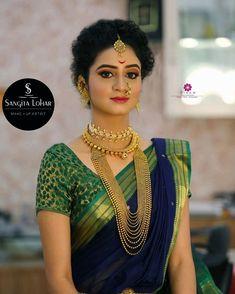 Beautiful model at sangita lohar bridal studio# peshwai look jwellery . Beautiful model at sangita lohar bridal studio# peshwai look jwellery # makeup n hair by sangita lohar# Marathi Saree, Marathi Bride, Marathi Wedding, Saree Wedding, Indian Bridal Sarees, Indian Bridal Makeup, Indian Bridal Fashion, Bridal Outfits, Bridal Dresses
