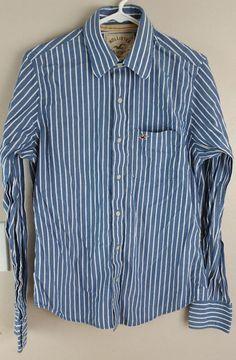 29858fbfbc1 Hollister Mens Dress Shirt Button Down Long Sleeve Blue   White size M   fashion