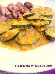 Cocinax2. Las recetas de Laurita.: Calabacines en salsa de curry Salsa Curry, Ratatouille, Quiche, Zucchini, Vegetables, Breakfast, Ethnic Recipes, Desserts, Food