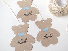 Teddy bear baby shower favor tags, Boy baby shower thank you tags, Teddy bear…