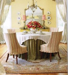 Intriguing French Country Dining Room Decor With Round Dining Table And Chair Set With Centerpiece Vase: Creating Classic Ambience with Light Blue Color for French Country Decor, Decorating