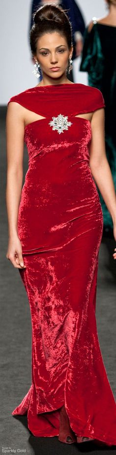 Renato Balestra.  Red velvet with snowflake brooch....perfect for Christmas parties.