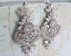 Bridal Earrings, CZ Studs Earrings, wedding earrings, cz pave earrings, cz bridal earrings, bridal crystal studs, crystal earrings, SKYLAR