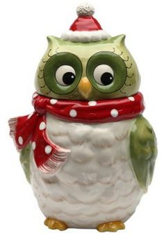 Owl Design Ceramic Holiday Cookie Jar - This is just darn right cute!  Look at those eyes!