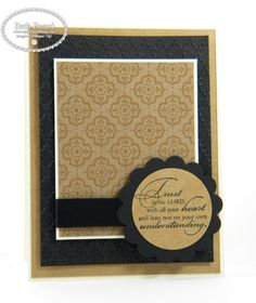 "Stamps: Trust God  Paper: New Natural Composition Specialty, Basic Black & Very Vanilla card stock  Ink: StazOn  Accessories: 1-3/4""Circle Punch, 2-3/8"" Scallop Circle Punch, Basic Black Satin Ribbon, Fancy Fan Folder, Big Shot"