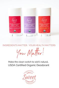 Ingredients matter, your health matters, you matter! Make the clean switch to 100% natural Organic Deodorant. Our unmatched USDA certified organic deodorant with 100% natural ingredients work together to stop odor causing bacteria. Keeps you smelling sweet while ditching aluminum, parabens, fragrance and other chemicals. #organicdeodorant #vegandeodorant #organicbeauty #veganbeauty Vegan Deodorant, Deodorant For Women, All Natural Deodorant, Organic Living, Vegan Beauty, Health Matters, Diy Skin Care, Organic Beauty, The Balm