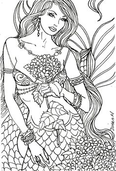 23 Best Ideas Coloring Pages for Adults Mermaid . Coloring pages are no much longer just for kids. Coloring books are marketing well in the grown-up market. Coloring Pages To Print, Coloring Book Pages, Printable Coloring Pages, Coloring Pages For Kids, Coloring Sheets, Mermaid Coloring Book, Realistic Mermaid, Colorful Drawings, Digital Stamps
