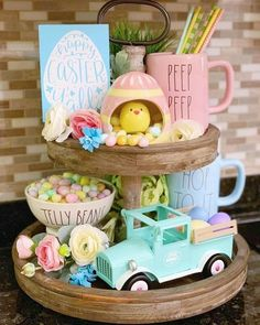 Hoppy Easter, Easter Eggs, Easter Bunny, Diy Osterschmuck, Easy Diy, Easter 2020, Tiered Stand, Diy Easter Decorations, Decorating For Easter