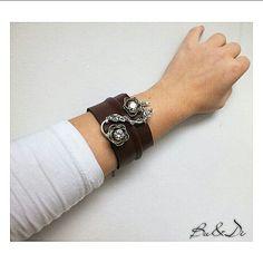Handmade desing 925 sterling silver leather bracelet