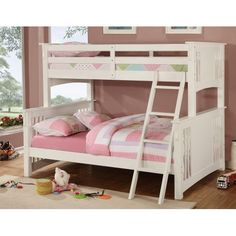 CM-BK0602WHITET-F  Miami  White Twin-over-Full Bunk Bed $550